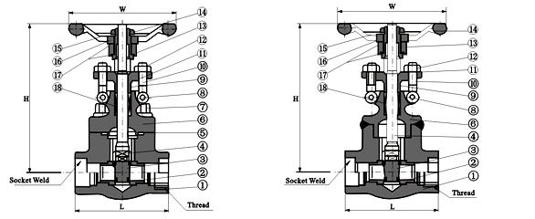 锻钢焊接闸阀Z61Y结构图